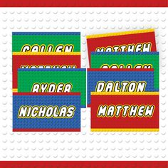 This is a custom LEGO inspired name tag, great for party favors! The perfect addition to your LEGO themed party! This listing includes up to Lego Themed Party, Party Themes, Lego Classroom Theme, Lego Decorations, School Labels, Lego Room, Gift Tags Printable, Custom Lego, Personalized Gift Tags