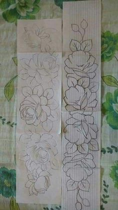Use for mirror shirt Embroidery Flowers Pattern, Hand Embroidery Designs, Ribbon Embroidery, Floral Embroidery, Embroidery Stitches, Machine Embroidery, Fabric Paint Designs, Hand Painted Dress, Tole Painting Patterns