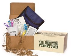 This handy gift box is a witty way for you to congratulate a young family member or friend on passing that milestone, while celebrating both the good and the bad. An instant care package, it holds supplies that range from the practical (a coffee mug, a reusable lunch sack, and a tiny, cubicle-sized picture frame) to the playful (ex. slingshot monkey toys).