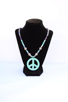Sky Blue Turquoise Peace Necklace. Peace Pendant. Hippie Jewelry. Boho Jewelry. Yoga Jewelry. Turquoise Gemstone Necklace. Turquoise Pendant by flashinfashinjewelry. Explore more products on http://flashinfashinjewelry.etsy.com