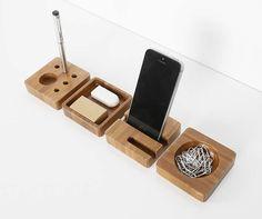 Bamboo Smart Phone Dock Stand Desk Organizer Office Accessories Set 4 Piece