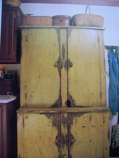 What a GREAT old cupboard!!!  I LOVE the color and the mousie-hole! :-D   ---American Country South Discounted Shipping Folk Art and Primitives | eBay