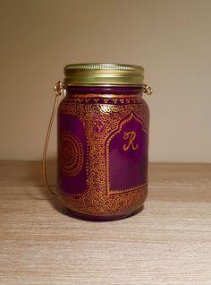 Personalized deep pink bohemian henna latern/party favors/patio lights/wedding favors/mason jar