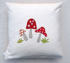"Toadstool cushion cover - mushrooms, red and white, free motion applique, linen and Amy Butler cotton. 40cm / 16"". $35.00, via Etsy."