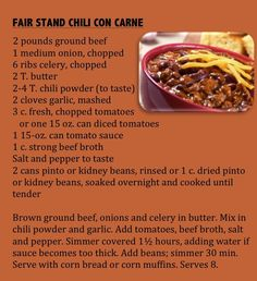 """From """"Great State Fair Recipes."""" Volunteers from Jehovah Lutheran Church served fairgoers hot chili at their sturdy dining hall tables for years. (From Minnesota State Fair: An Illustrated History, by Kathryn Strand Koutsky & Linda Koutsky, 2007.)"""