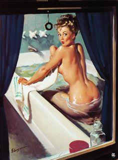 Bathroom pinup girl   vintage pulp art