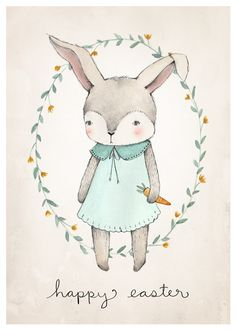 Free Printable Easter Bunny Illustration by Kelli Murray