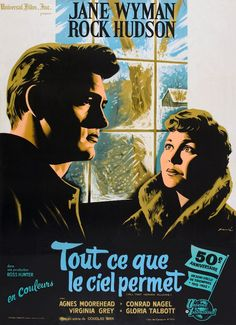 All That Heaven Allows Movie Poster (French) #RockHudson #JaneWyman