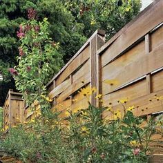 Basketweave: Thin horizontal boards bent around vertical spacers create attractive shadow lines with gaps between each course to permit airflow. Must be built on-site.     Similar to shown: 6-foot-tall fence in redwood, about $30 per linear foot for uninstalled panels; Arbor Fence Inc.