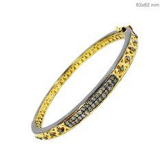2.5Ct Diamond Pave Bracelet Sterling Silver 14k Gold Vintage Look Bangle Jewelry #raj_jewels #Bracelet