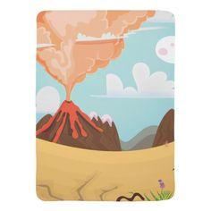Cartoon Erupting Volcano Receiving Blanket