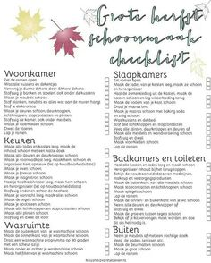 Lijst herfst schoonmaak Move In Cleaning, Cleaning Hacks, Bullet Journal Topics, Bullet Journal Cleaning Schedule, Making Life Easier, Life Planner, Good Advice, Keep It Cleaner, Getting Organized
