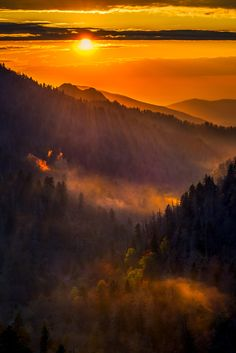 sunset at Morton Overlook, Great Smoky Mountains National Park, Tennessee