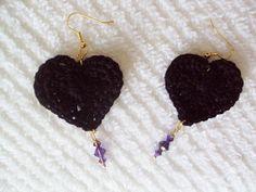 Black Heart Lace & Swarovski Crystal EarringsEtsy by mamabecca73, 12.95
