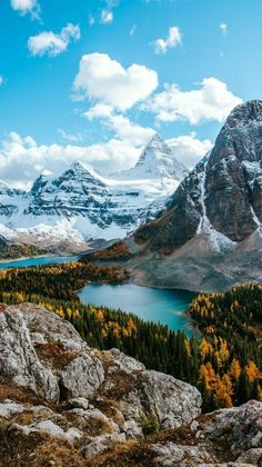Mountain Landscape - Sunburst Lake and Mount Assiniboine, Rocky Mountains in Bri...