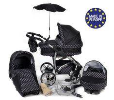 Twing - 3 in 1 Reisesystem einschlie�lich Kinderwagen mit schwenkbaren R�dern, Kinderautositz, Buggy und Zubeh�r - Schwarz-wei�e Punktmuster