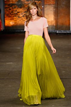 chartreuse pleated maxi skirt, pale pink tee