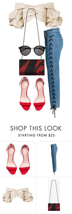 """Untitled #4840"" by amm-xo ❤ liked on Polyvore featuring H&M, Johanna Ortiz and Yves Saint Laurent"