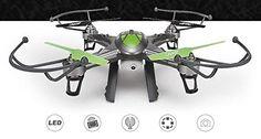 BlueBeach JJRC H9D 2,4GHz 6-Axis Gyro Quadcopter con 2.0MP HD Cámara y el Transmisor FPV (2GB tarjeta de memoria y lector de tarjetas incluido) (Gris)