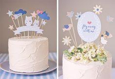 Pour un anniversaire, une baby shower, un baptême ou toute autre fête, les jolis cake toppers à télécharger et à imprimer sur The pretty blogapporteront u
