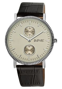 Price:$47.14 #watches August Steiner AS8048SS, This Akribos XXIV ultra slim men's watch is elegant and timeless. This watch features a matt dial with subdials displaying the GMT and 60 seconds. The genuine leather band secures with an engraved tang buckle.