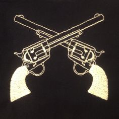 Western crossed guns (revolvers) machine embroidery design in four sizes. by MEmbroideryGeek on Etsy