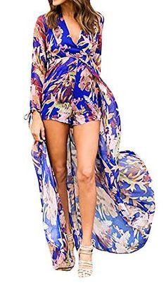 4201a30d7d1c Lovaru Women s Floral Print Chiffon Flowing Boho Boyshorts Romper Dress for  Beach at Amazon Women s Clothing store