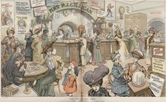 Lost Womyn's Space: Mrs. P.J. Gilligan's Saloon for Ladies. This is an satirical cartoon from 1908. Someone should make it real. Steampunk lesbian bar ftw!
