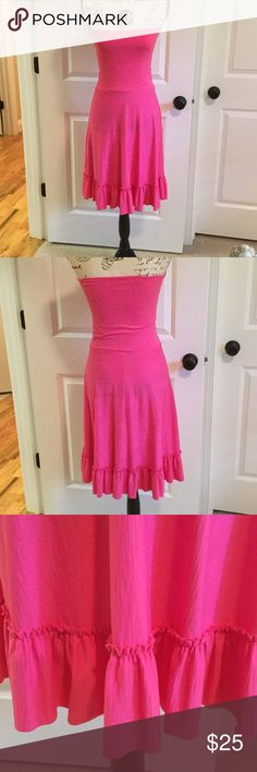 Betsey Johnson beach cover/dress NWOT NWOT BetseyJohnson hot pink beach cover/dress. Very stretchy fabric. Top part could probably be scrunched to become a skirt also. Never worn. Has 2 tiny spots on front panel as shown in last pick. Must have been there when I bought it. Betsey Johnson Dresses