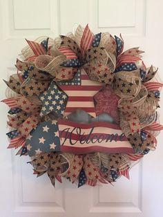 Patriotic Wreath, Fourth of July Wreath, Memorial Day Wreath, Veterans Day Wreath, Red White Blue Wreath, Burlap Welcome Wreath, Americana by RoesWreaths on Etsy https://www.etsy.com/listing/289201095/patriotic-wreath-fourth-of-july-wreath