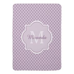 Modern Monogram Light Purple Quatrefoil With Name Swaddle Blankets