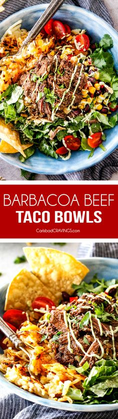 These Barbacoa Beef Taco Bowls are SO addicting and I love the Avocado Ranch! They are an explosion of flavor and texture in every juicy, crispy bite and make a fabulous prep ahead dinner or Game Day taco bowl bar favorite! via @carlsbadcraving