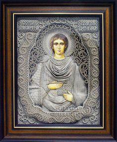 macrame, macrame art, St. Nicolas icons, icons art, religious icons, russian religious icons, icons art. Applied art. Saint Panteleimon the Healer. Denshchikov Vladimir