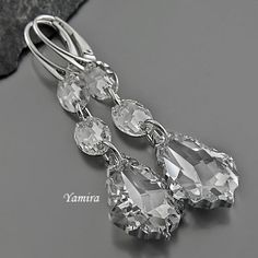 Exclusive long Earrings with Swarovski Baroque Crystal CAL for Bride, Bridesmaids by TheBestEarrings, $49.00