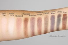 Kjaer Weis eyeshadow swatches: cloud nine, charmed, magnetic, wisdom & divine Organic Makeup, Organic Beauty, Natural Makeup, Natural Beauty, Red Apple Lipstick, Alima Pure, Z Palette, Magnetic Palette, Neutral Eyes