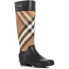 Burberry Clemence Signature Check Rain Boots ($325) ❤ liked on Polyvore featuring shoes, boots, house check, wellington boots, burberry boots, rubber boots, tartan boots and burberry