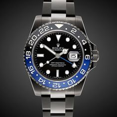 Acustomized version of a Rolex GMT II, this watch features complete (DLC) Diamond-like carbon coating and a black dial with luminescent indicies. Individual numbering laser engraved 01/50. Automatic movement. 31 Jewels. 40mm Case. Water resistant to 100m / 330 feet. Two-colour ceramic rotatable bezel. Sapphire glass. Flip lock bracelet