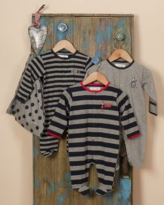 Pack of 3 Navy Blue Sleepsuits/Baby grows - Baby Boys Clothes