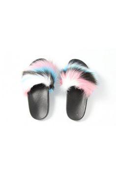 Farebné papuče s kožušinou 851 W/R/B/M Fur Slides, Sandals, Beauty, Shoes, Fashion, Moda, Shoes Sandals, Zapatos, Shoes Outlet