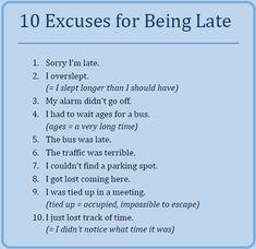 10 Excuses for Being Late!