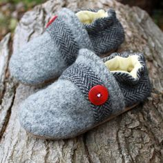 Herringbone Wool Slippers made from recycled materials by Littlefriendsco
