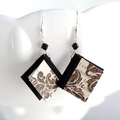 Miniature Book Earrings - Black and Cream Damask Design - Great Gift for Teachers, Librarians, Book Clubs, Authors and More - Other Designs and Mini Book Items Available on my Etsy Site by AmbJewelry