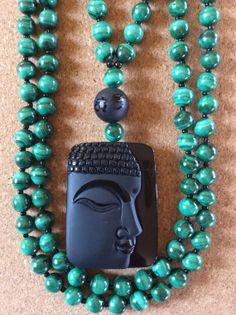 Malachite and Obsidian Mala by ManiMantraMala on Etsy, $129.00