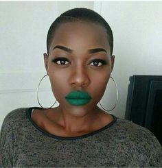 Chocolate skin green lipstick