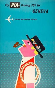 fly pia boeing 707 to geneva, pakistan international airlines - tom eckersley, 1960