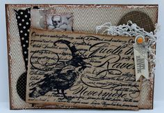 Pam has made a fantastic card using the #Stampendous Nevermore stamp and lots and lots of textured layers!