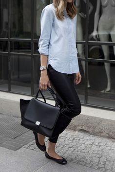 Style Inspiration: Light Chambray Shirt, Black Slacks for me, my black bag, my black penny loafers - maybe I could look for black ankle pants?