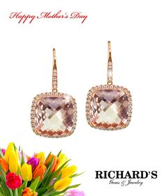 Cushion cut morganite and diamond earrings set in 18k rose gold