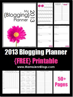 This 50+ page pdf file includes printable blogging pages for the entire 2013 calendar year! There are four different pages included for each month of planning plus some additional bonus planning pages!