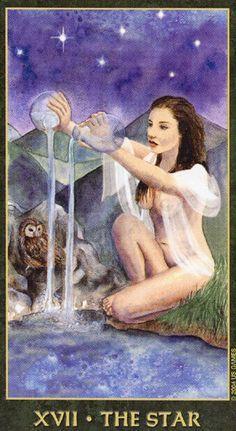 The Star card from the Forest Folklore Tarot Deck Tarot Cards Major Arcana, Star Tarot, Le Tarot, Witchcraft Books, Tarot Card Meanings, Beautiful Fantasy Art, Tarot Card Decks, Angel Cards, Oracle Cards
